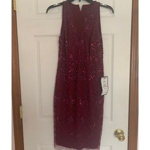 Adrianna papell size 6 maroon sequin dress